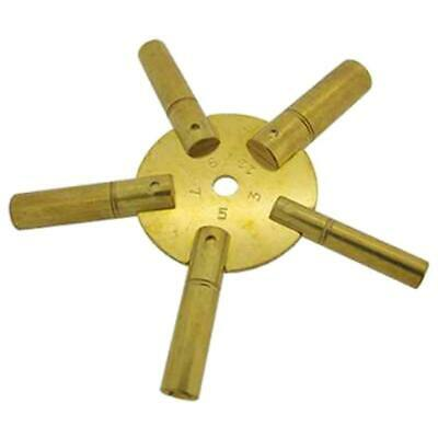 Clock Winding Key Brass Odd Sizes Star Spider Bench 3 5 7 9 11 Winder Prong Tool