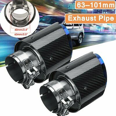 2X ID:2.5'' OD:4'' Carbon Fiber Exhaust Tips Universal Car Exhaust Pipe 63-101mm
