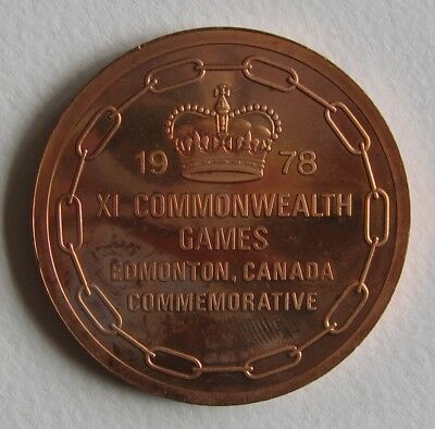 Official Participation Medal 11th Commonwealth Games 1978 Edmonton