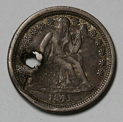1841 O US Seated Liberty Dime 90% Silver Coin KM# 63