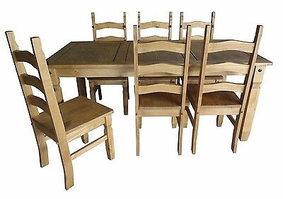 """Corona 6'0"""" Dining Table and 6 Chairs Set Mexican Pine by Mercers Furniture®"""