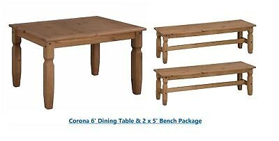 Corona 6' Dining Table & 2 x 5' Bench Set Solid Pine by Mercers Furniture®