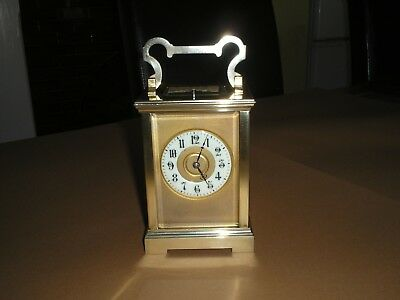 Large Antique French BRASS REPEATER CHIMES CARRIAGE CLOCK and ORIGINAL CASE 1870