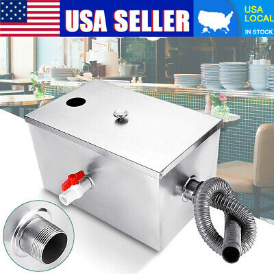 Commercial 8LB 5GPM Grease Trap Stainless Steel Interceptor Filter Kit Kitchen