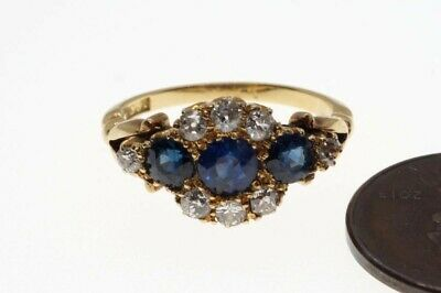PRETTY ANTIQUE LATE VICTORIAN ENGLISH 18K GOLD SAPPHIRE & DIAMOND RING c1900