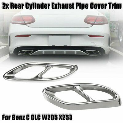 Black titanium Rear Exhaust Muffler Tip End Pipe For Mercedes-Benz GLC 2016-18
