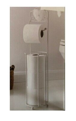 Metal White Toilet Roll Stand Holder Caddy With Storage Bathroom - Cream