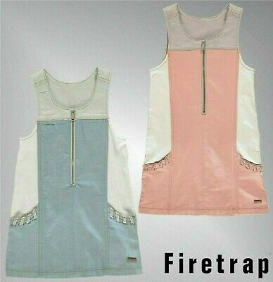 Girls Firetrap Stretch Colour Block Den Pinafore Dress Sizes from 4 to 13 Yrs