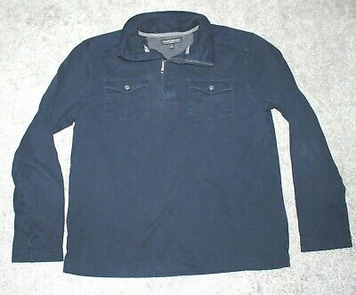 BANANA REPUBLIC Luxury Brushed Cotton Men's MEDIUM M Quarter Zip Pullover Navy