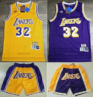 Magic Johnson #32 Los Angeles Lakers 90's Throwback Vintage Jersey / Shorts
