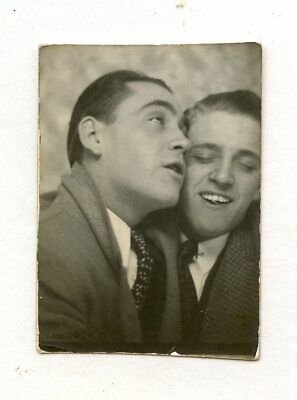 # 9 Vintage Photo Booth Affectionate Buddy Boys Men In Love  Snapshot Gay