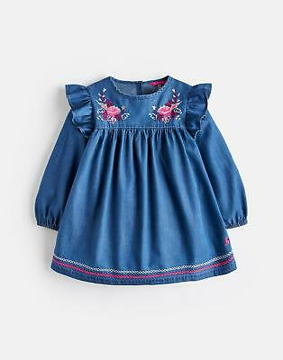 Joules Girls Tamaryn Frill Top in CHAMBRAY