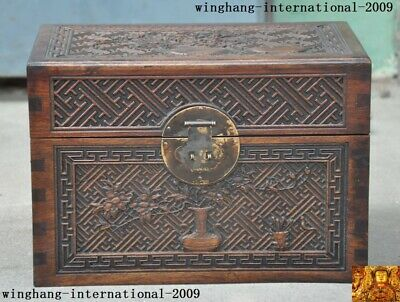 """12""""Chinese Huanghuali Wood Carved flower Storage Jewelry Box Boxes Treasure Case"""