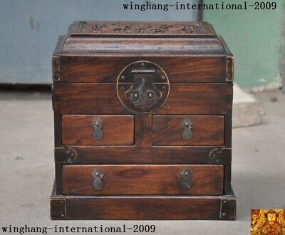 """10""""Old Chinese Huanghuali Wood Carve bat Storage Jewelry Box Boxes Treasure Case"""