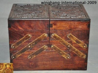 China Rosewood Wood Hand-carved animal Dragon jewelry Storage Box Boxes statue