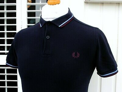 Fred Perry M3600 Navy Twin Tipped Slim Polo - XS/S - Mod Ska Scooter Casuals