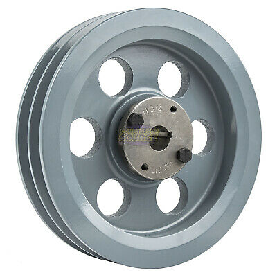 """Cast Iron 7.75"""" 2 Groove Dual Belt B Section 5L Pulley 3/4"""" Sheave Bushing"""