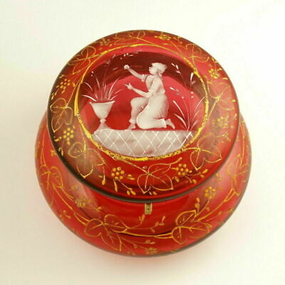 Antique Victorian Cranberry Glass Jewelry Box Mary Gregory Enamel Powder Jar