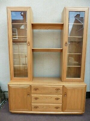 Ercol Windsor Light Blonde Sideboard With Display Cabinet, Bookcase, Solid Elm.