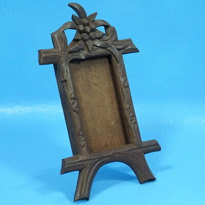 4x2.5 Antique Swiss Black Forest Carved TABLE PHOTO FRAME Edelweiss Brienz c1920