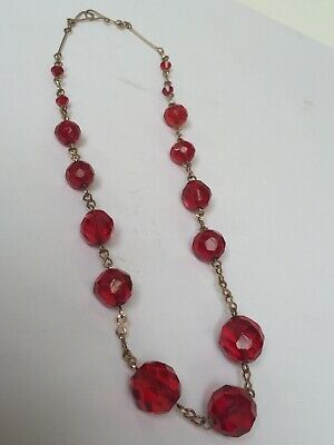 VINTAGE ART DECO C 1930s CZECH FACETED RUBY RED GLASS ROLLED GOLD NECKLACE 16""