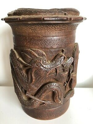 Antique  Japanese 3 Claw Cylinder Tea Caddy With Carved Dragons