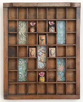 Lovely Small Wooden Printers Tray Artwork with William Morris Theme and Curios