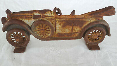 Old Vtg Cast Iron Antique Car Door Stop Stand Up Cast Iron Art 12""
