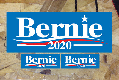 "Bernie Sanders 2020 For President Blue Bumper Sticker Decal 5"" wide, plus extras"