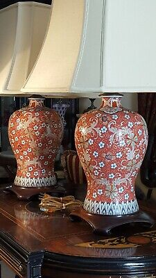 Chinese MEIPING VASE LAMPS PAIR Qianlong Famille Rose Wood Bases A+ No Shades