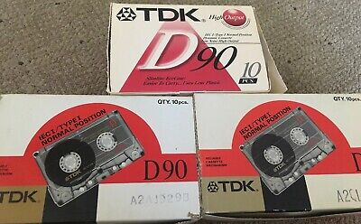 Lot Of 30: TDK D90 Audio Cassette Tapes High Output Normal Position
