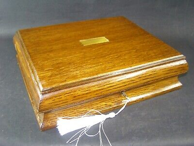 Antique Oak Document Box Working Lock & Key c1890 Brass Center Shaped Sides
