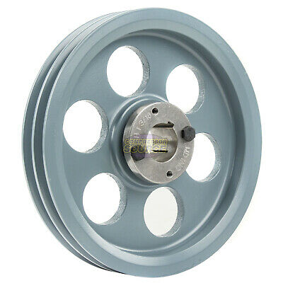 """Cast Iron 8.25"""" 2 Groove Dual Belt A Section 4L Pulley 1-3/16"""" Sheave Bushing"""