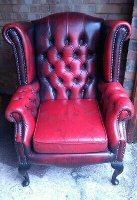 Wingback Chesterfield Oxblood Leather Queen Anne Chair