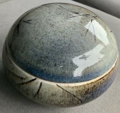 Gray Chinese Ceramic Glazed & Lidded BOWL marked by artist