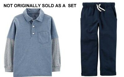 Carters Toddler Boys Blue Layered-Look Polo & Blue Pull-On Pants NWT separates