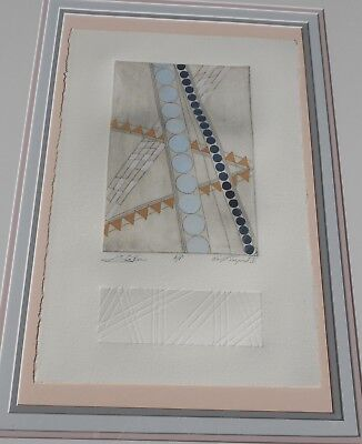 Vintage A/P Modern Print Frank Lloyd Wright Inspired Signed Titled & Framed