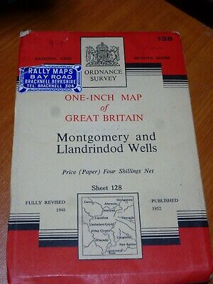 Vintage Rally Ordinance Survey Map128 Montgomery&Llandrindod Wells