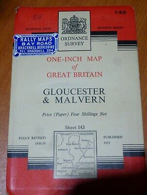 Vintage Rally Ordinance Survey Map143 Gloucester & Malvern