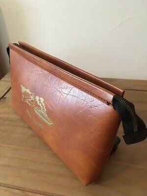 Vintage 1970s Retro Leather Look BON YOYAGE Trave Bag/ Wash Bag/Cosmic Bag