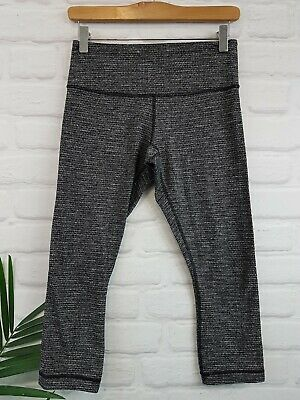 ac81de1d03 Lululemon Wunder Under Crop Pant 6 Coco Pique Black White Luon Mid-Rise  Stretch