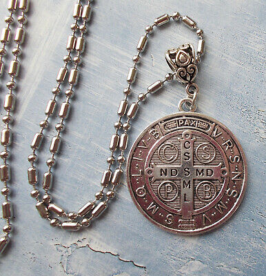 Large Saint St. Benedict Protection Medal Pendant with ss chain & card