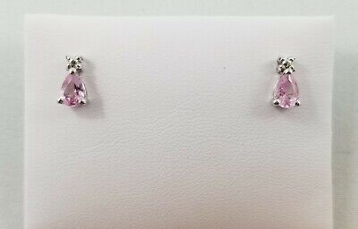 14k White Gold Diamond & Pink Tourmaline Stud Earrings - Gently Used - J-388A