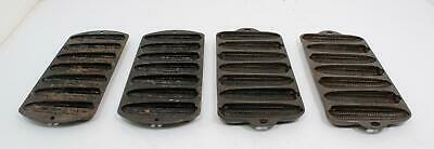 Lot of 4 Cast Iron Corn Bread Molds 2 Lodge 2 Wagner's