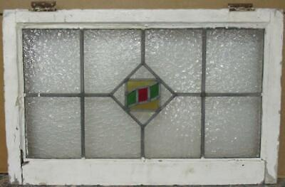 "OLD ENGLISH LEADED STAINED GLASS WINDOW TRANSOM Nice Geometric 28.5"" x 18.25"""