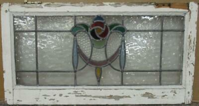 """OLD ENGLISH LEADED STAINED GLASS WINDOW TRANSOM Mackintosh Rose 28"""" x 14.75"""""""