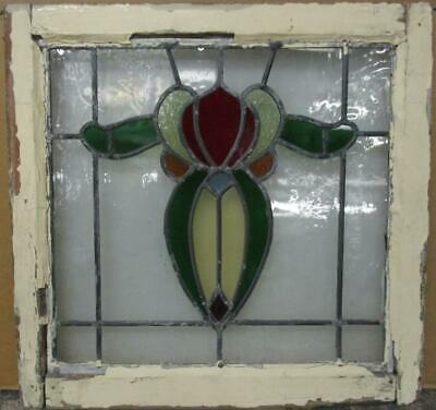 "OLD ENGLISH LEADED STAINED GLASS WINDOW Pretty Abstract Floral 21"" x 20.5"""