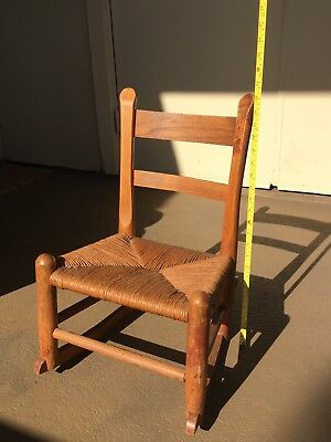 Antique Child-sized Wooden Rocking Chair, with Handwoven, seat
