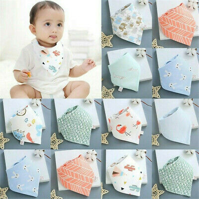 Infant Baby Boy Girl Cotton Bandana Bibs Feed Saliva Towel Dribble Triangle Soft