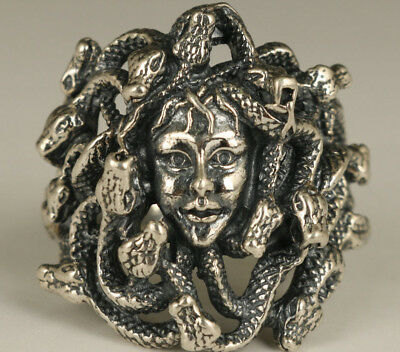 rare 16g chinese Fine s925 silver hand carving snake girl statue figure Ring